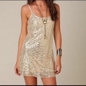NWOT Intimately Free People Gold Sequin Mini Dress